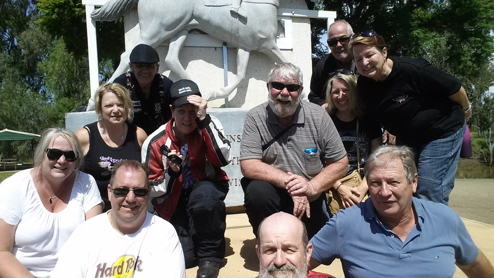 2017 AGM Attendees in front of the Gunsynd Memorial at Goondiwindi